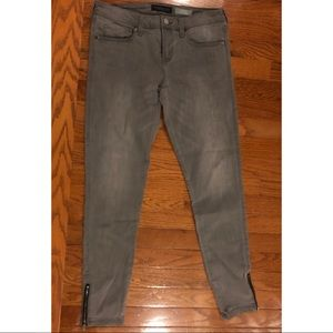 Grey Ankle Jeggings with Zippers